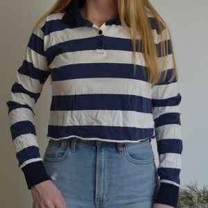 Wild Fable Striped Cropped Long Sleeve Polo Shirt